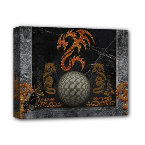 Awesome Tribal Dragon Made Of Metal Deluxe Canvas 14  X 11  by FantasyWorld7