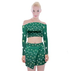 Christmas Light Green Off Shoulder Top With Mini Skirt Set