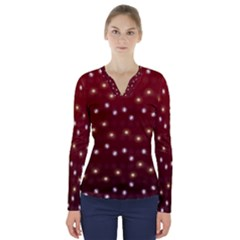 Christmas Light Red V Neck Long Sleeve Top