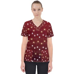 Christmas Light Red Scrub Top