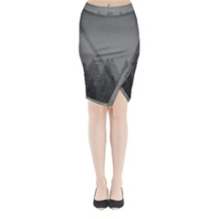 Winter Land Dark Midi Wrap Pencil Skirt