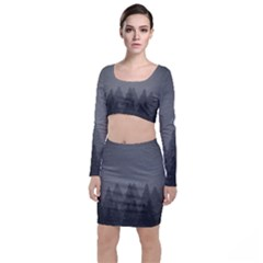 Winter Land Dark Long Sleeve Crop Top & Bodycon Skirt Set