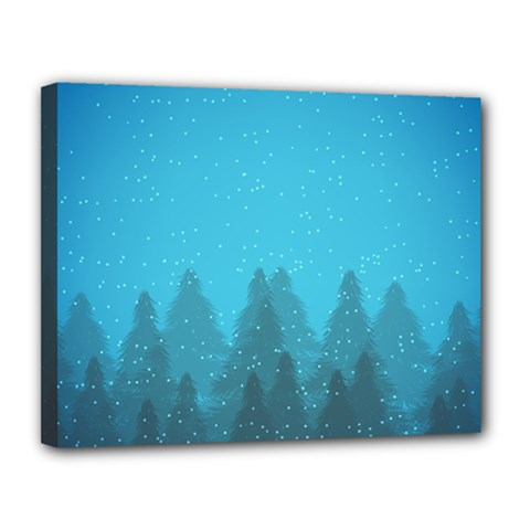 Winter Land Blue Canvas 14  X 11  by jumpercat