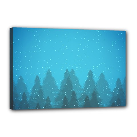 Winter Land Blue Canvas 18  X 12