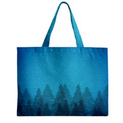 Winter Land Blue Zipper Mini Tote Bag