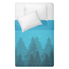 Winter Land Blue Duvet Cover Double Side (single Size)