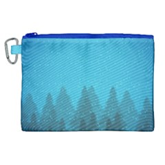 Winter Land Blue Canvas Cosmetic Bag (xl)