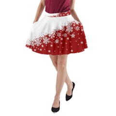 Xmas Snow 01 A Line Pocket Skirt
