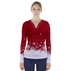 Xmas Snow 02 V Neck Long Sleeve Top