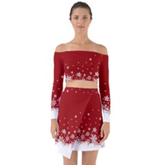 Xmas Snow 02 Off Shoulder Top With Skirt Set