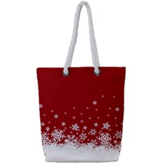 Xmas Snow 02 Full Print Rope Handle Tote (small)