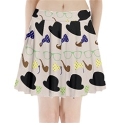 Moustache Hat Bowler Bowler Hat Pleated Mini Skirt