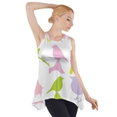 Birds Colourful Background Side Drop Tank Tunic