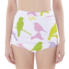 Birds Colourful Background High Waisted Bikini Bottoms by Celenk