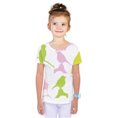 Birds Colourful Background Kids  One Piece Tee by Celenk