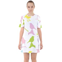 Birds Colourful Background Sixties Short Sleeve Mini Dress