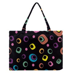 Abstract Background Retro 60s 70s Zipper Medium Tote Bag by Celenk