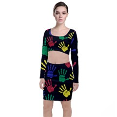Handprints Hand Print Colourful Long Sleeve Crop Top & Bodycon Skirt Set by Celenk