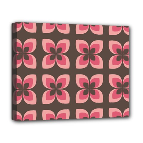 Floral Retro Abstract Flowers Deluxe Canvas 20  X 16   by Celenk