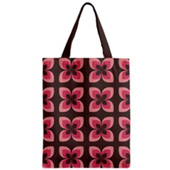 Floral Retro Abstract Flowers Zipper Classic Tote Bag