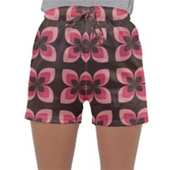 Floral Retro Abstract Flowers Sleepwear Shorts