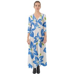 Hibiscus Wallpaper Flowers Floral Button Up Boho Maxi Dress