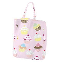 Cupcakes Wallpaper Paper Background Giant Grocery Zipper Tote by Celenk