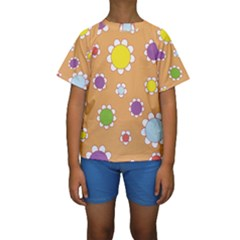 Floral Flowers Retro 1960s 60s Kids  Short Sleeve Swimwear