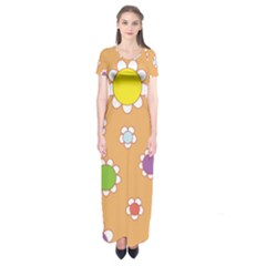 Floral Flowers Retro 1960s 60s Short Sleeve Maxi Dress