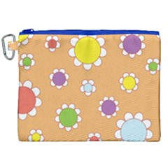 Floral Flowers Retro 1960s 60s Canvas Cosmetic Bag (xxl)