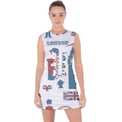 London Icons Symbols Landmark Lace Up Front Bodycon Dress