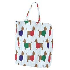 Dachshund Dog Cartoon Art Giant Grocery Zipper Tote by Celenk