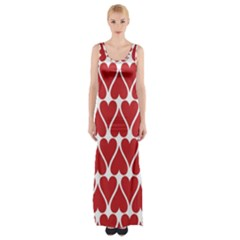 Hearts Pattern Seamless Red Love Maxi Thigh Split Dress