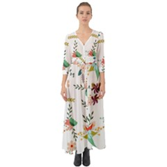 Floral Backdrop Pattern Flower Button Up Boho Maxi Dress