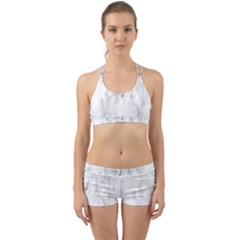 White Background Pattern Tile Back Web Sports Bra Set