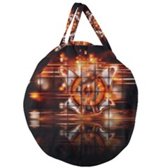 Butterfly Brown Puzzle Background Giant Round Zipper Tote by Celenk