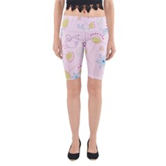 Floral Background Bird Drawing Yoga Cropped Leggings by Celenk