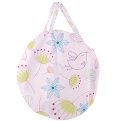 Floral Background Bird Drawing Giant Round Zipper Tote