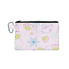 Floral Background Bird Drawing Canvas Cosmetic Bag (small)