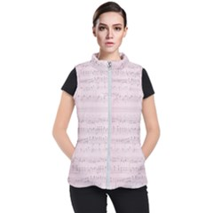 Vintage Pink Music Notes Women s Puffer Vest