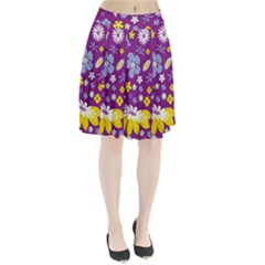 Floral Flowers Wallpaper Paper Pleated Skirt by Celenk