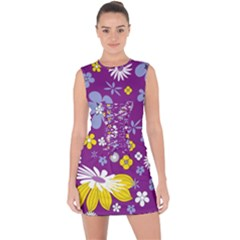 Floral Flowers Wallpaper Paper Lace Up Front Bodycon Dress by Celenk