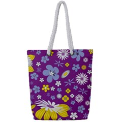 Floral Flowers Wallpaper Paper Full Print Rope Handle Tote (small)