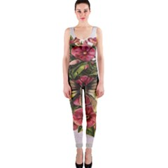 Vintage Butterfly Flower Onepiece Catsuit by Celenk