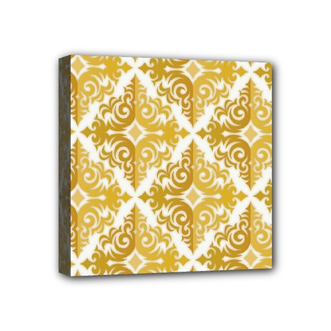 Gold Pattern Wallpaper Fleur Mini Canvas 4  X 4