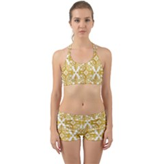 Gold Pattern Wallpaper Fleur Back Web Sports Bra Set by Celenk