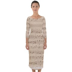 Vintage Beige Music Notes Quarter Sleeve Midi Bodycon Dress