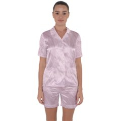 Marble Background Texture Pink Satin Short Sleeve Pyjamas Set