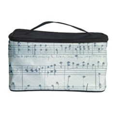 Vintage Blue Music Notes Cosmetic Storage Case by Celenk