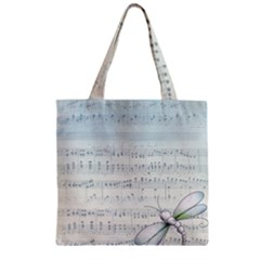 Vintage Blue Music Notes Zipper Grocery Tote Bag